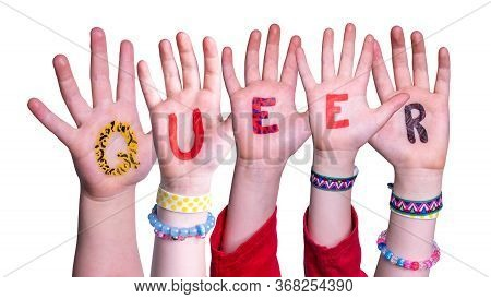 Children Hands Building Word Queer, Isolated Background