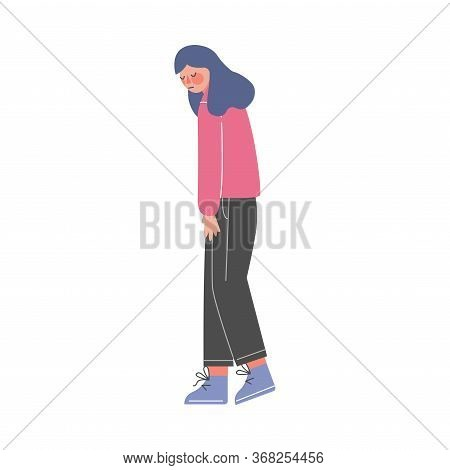 Unhappy Young Woman, Girl Having Problems, Loneliness, Depression, Despair Vector Illustration