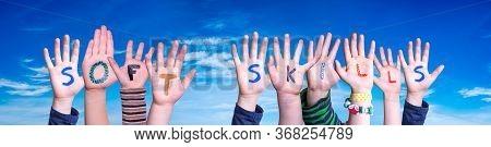 Children Hands Building Word Soft Skills, Blue Sky