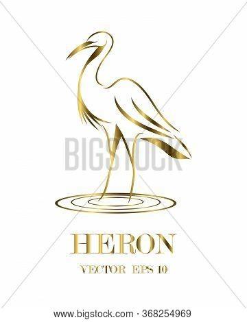 Golden Line Art Vector Logo Of Heron That Is Standing.
