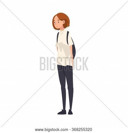 Teen Girl Standing With Backpack, Teenager Spending Time In Expectation At Bus Stop Cartoon Vector I