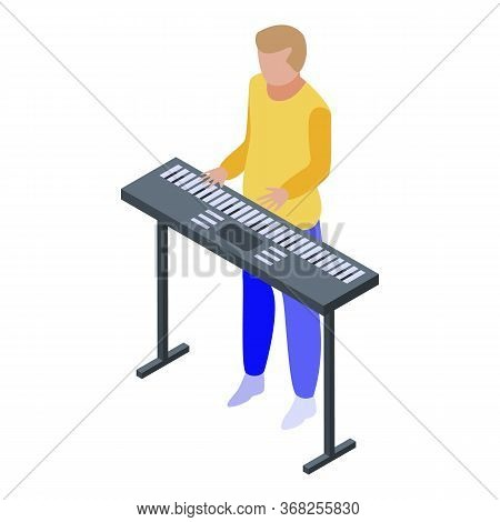 Musical Keyboard Playing Icon. Isometric Of Musical Keyboard Playing Vector Icon For Web Design Isol