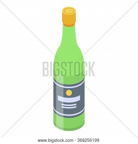 Office Party Bottle Champagne Icon. Isometric Of Office Party Bottle Champagne Vector Icon For Web D