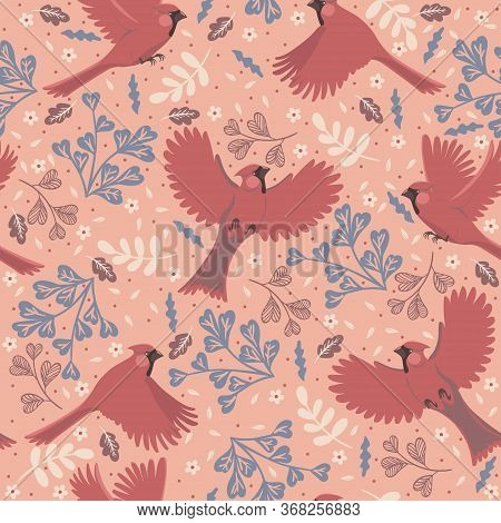 Seamless Pattern With Birds Red Cardinals. Vector Image