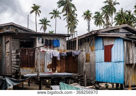 Mabul Island, Sabah, Malaysia - August 08, 2018: A Small Home At Floating Village Mabul Island. With