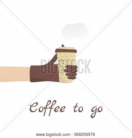 A Hand In Protective Glove Holds Out A Glass Of Latte To Take Away - Relevant During The Coronavirus