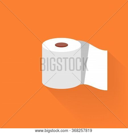 Roll Tissue Paper In Flat Style. Toilet Paper Flat Icon On Isolated White Background. Eps 10 Vector