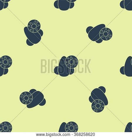 Blue Runny Nose And Virus Icon Isolated Seamless Pattern On Yellow Background. Rhinitis Symptoms, Tr