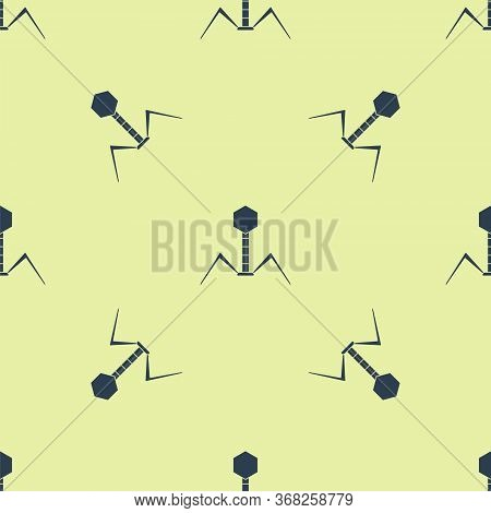 Blue Bacteria Bacteriophage Icon Isolated Seamless Pattern On Yellow Background. Bacterial Infection