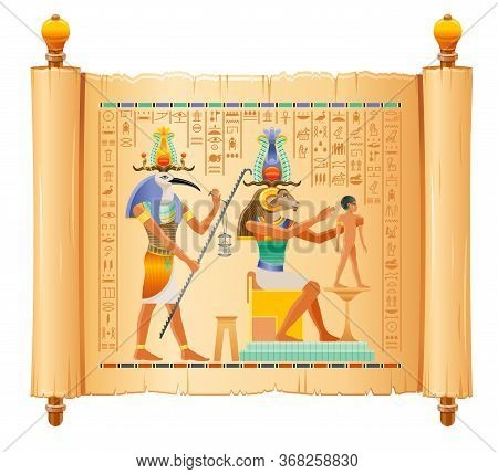 Egyptian Papyrus With God Khnum, Thoth Creating Human Man At Potter Wheel From Clay. Ancient Egyptia