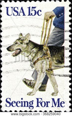 02 10 2020 Divnoe Stavropol Territory Russia The Postage Stamp United States 1979 Seeing Eye Dogs Ge