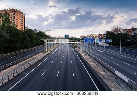 Madrid, Spain - May 9, 2020: Empty M30 Highway In Madrid During Covid-19