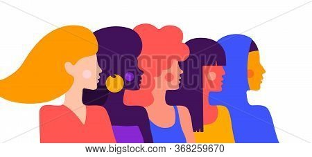 Modern Flat Character. Simple Character Of Woman Lady Of Different Nationalities, Races, Arab, Asian