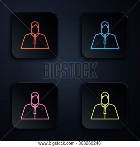 Color Neon Line Lawyer, Attorney, Jurist Icon Isolated On Black Background. Jurisprudence, Law Or Co