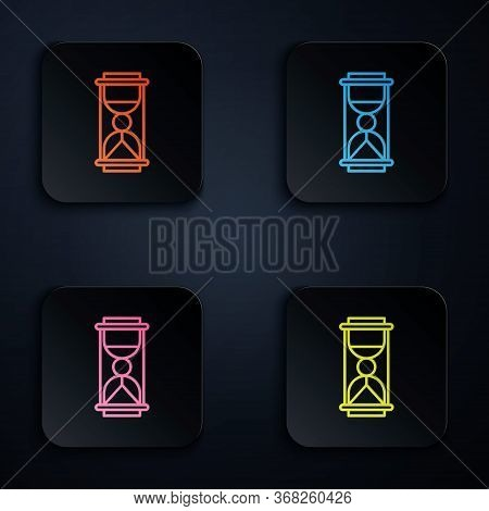 Color Neon Line Old Hourglass With Flowing Sand Icon Isolated On Black Background. Sand Clock Sign.