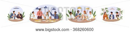 Set Of Various Diverse Business Team Eating Together Vector Flat Illustration. Collection Of Happy C