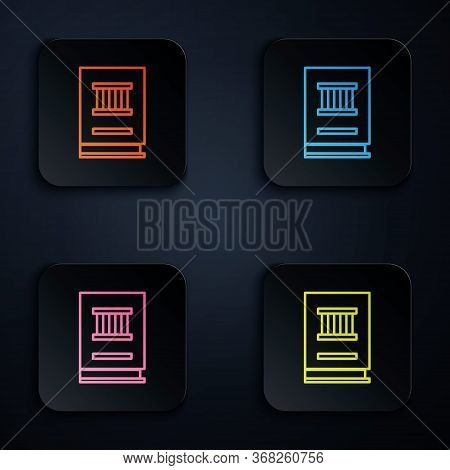 Color Neon Line Law Book Icon Isolated On Black Background. Legal Judge Book. Judgment Concept. Set