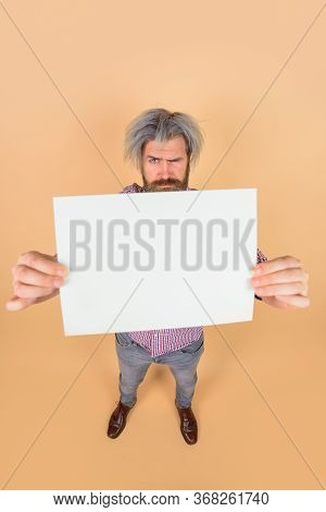 Advertising Banner. Copy Space For Text. Advertising Board. Surprised Man With Blank Board. Space Fo