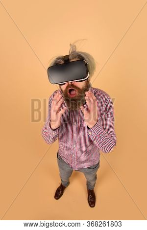Vr Glasses. Surprised Man In Virtual Reality Headset. Future. Future Technology Concept. Men Using V