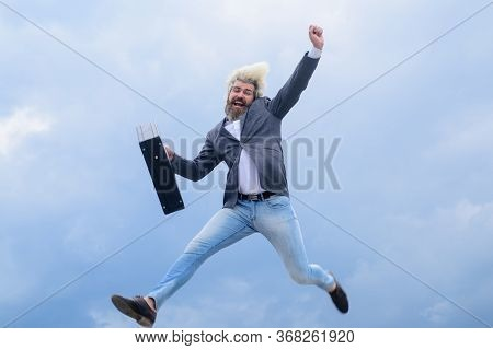 Excited Businessman. Advertising. Businessman Running With Suitcase. Ceo. Businessman In Suit. Busin