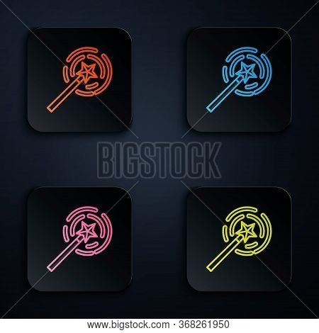 Color Neon Line Magic Wand Icon Isolated On Black Background. Star Shape Magic Accessory. Magical Po