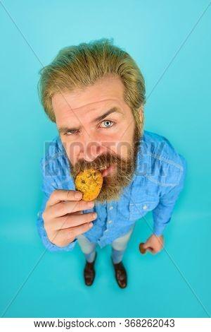 Cookie. Breakfast Or Lunch. Sweet Cookies. Bakery. Biscuit. Sweet Snack. Man Eat Cookie. Homemade Co