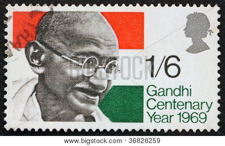 Postage stamp Great Britain 1969 Mahatma Gandhi