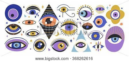 Set Of Various Hand Drawn Doodle Eyes Vector Flat Illustration. Collection Of Evil, Ra, Turkish, Gre