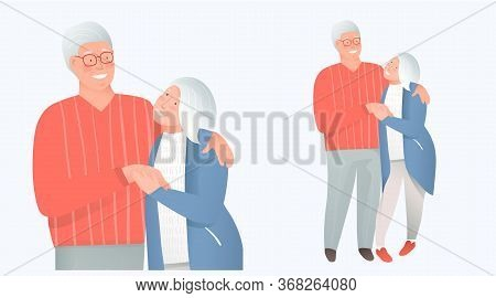 Elderly Retired Couple In Love Hugging Embracing. Insurance, Medical Support And Safety For Mature A