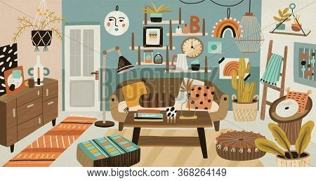 Cozy Cartoon Interior Design Vector Illustration. Colorful Domestic Furnishing With Houseplant, Couc