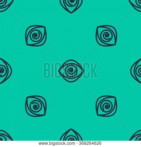 Blue Line Hypnosis Icon Isolated Seamless Pattern On Green Background. Human Eye With Spiral Hypnoti