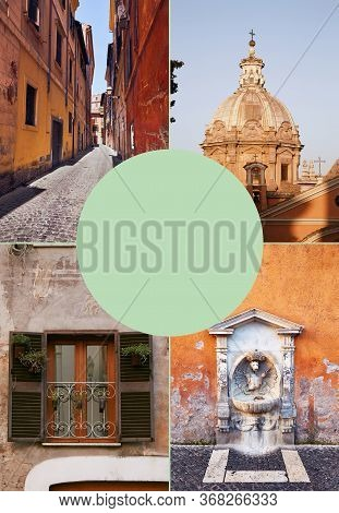 Vertical Collage Of Photos Of Rome, Italy From Different Places In Rome. Good For Travel Blogs, Arti