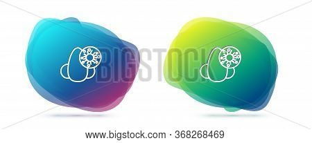 Set Line Runny Nose And Virus Icon Isolated On White Background. Rhinitis Symptoms, Treatment. Nose