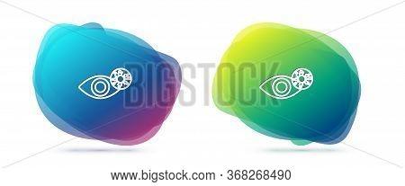 Set Line Reddish Eye Due To Virus, Bacterial Or Allergic Conjunctivitis Icon Isolated On White Backg