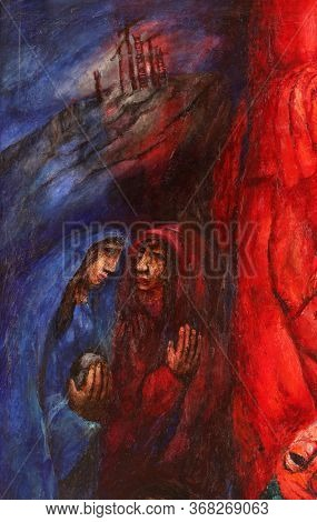 WASSERALFINGEN, GERMANY - MAY 05, 2014: Altar of women, detail of high altar by Sieger Koder in St. Stephen's church in Wasseralfingen, Germany
