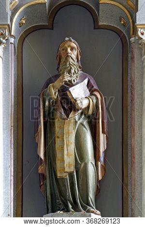 KAMANJE, CROATIA - JULY 02, 2016: Saint Methodius, statue on the main altar in the parish Church of the Holy Name of Mary in Kamanje, Croatia