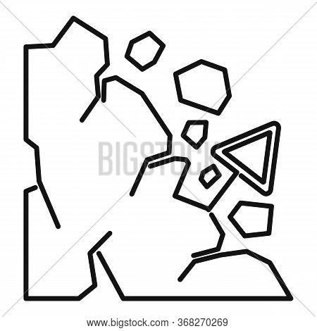 Falling Landslide Icon. Outline Falling Landslide Vector Icon For Web Design Isolated On White Backg