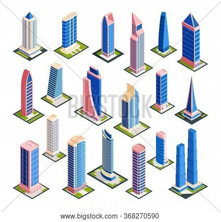 Isometric City Skyscrapers Set With Isolated Images Of Modern Urban Architecture Tall Buildings On B