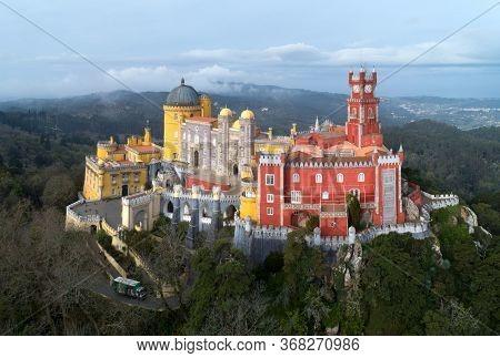 Aerial view of Pena Palace (Palacio da Pena) at morning, Sintra, Portugal