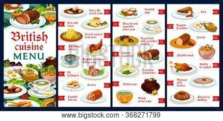 Britain Cuisine Menu Template Vector Meals Kok-e-liki Scotch Soup, Cod With Sauce, Scotch Smoked Tro