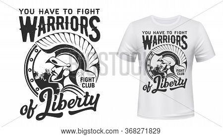 Warrior T-shirt Print Vector Fight Club Mascot. Apparel Mockup With Roman Or Greek Gladiator, Solder