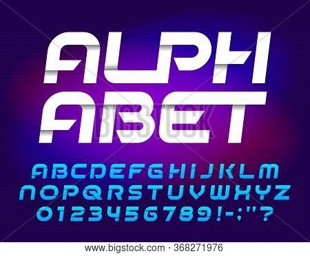 Abstract Alphabet Font. Oblique Geometric Letters And Numbers. Easy Color Change. Stock Vector Types