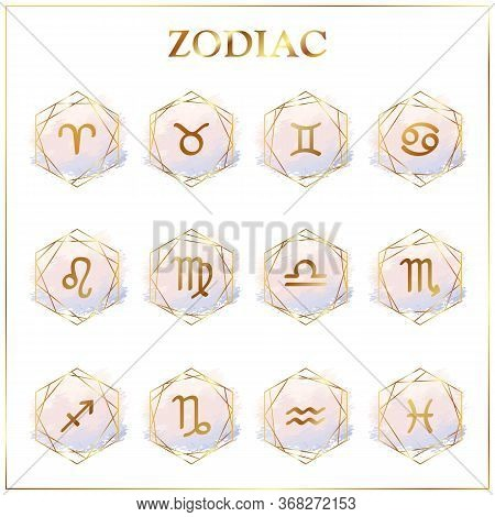 Zodiac Icons. Set Of Zodiac Signs. Astrological Signs On Watercolor Background Isolated On White