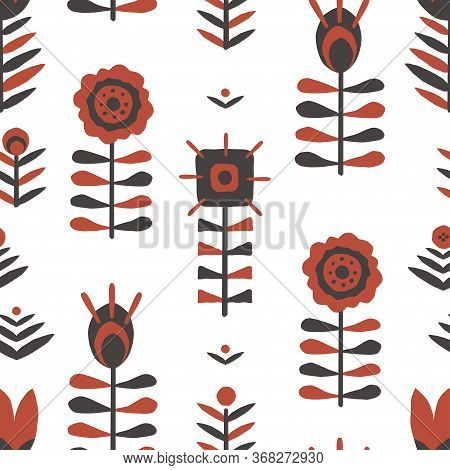 Paper Cut Floral Scandinavian Seamless Pattern. Hand Drawn Red And Black Colored Folk Flower Texture