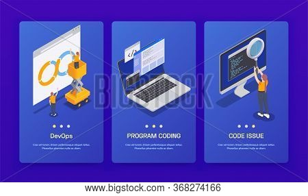 Three Vertical Programming Coding Development Isometric Banner Set With Devops Program Coding And Co
