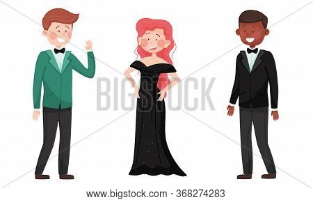 Man And Woman Characters Dressed In Elegant Attire At Social Evening Or Red Carpet Reception Vector
