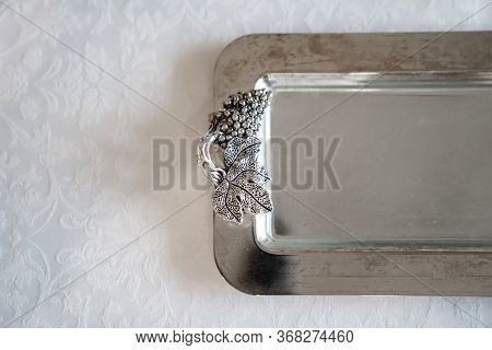 Shiny Metal Handout Tray. The Design Element Of The Festive Table. Beautiful Tableware. Copy Space.