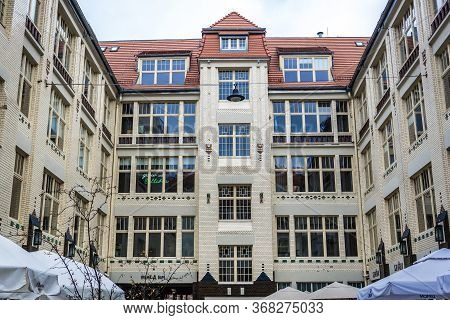 Wroclaw, Poland - December 1, 2019: Tenements On Pokoyhof Passage In Historic Part Of Wroclaw City