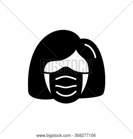 Woman Face With Mask Icon Vector In Trendy Black Flat Style Isolated On White Background. Illustrati