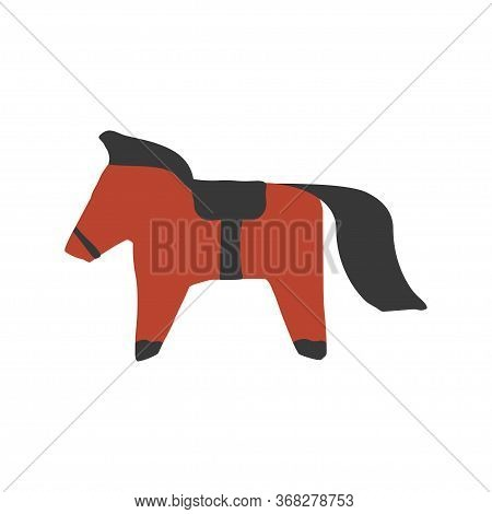 Paper Cut Horse In Scandinavian Style. Hand Drawn Red And Black Colored Folk Horse. Vector Illustrat
